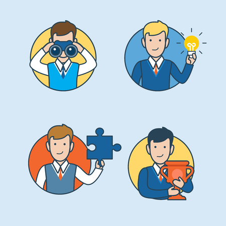 grub: Linear Flat Businessman looking binoculars, holding lamp, puzzle and cup vector illustration. Research, Idea, Work, Success business concept. Illustration