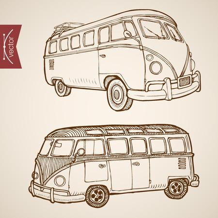 retro illustration: Engraving vintage hand drawn vector retro bus collection. Pencil Sketch passenger transport illustration.