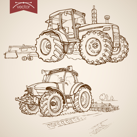 old tractors: Engraving vintage hand drawn vector tractor plough collection. Pencil Sketch Farm Machinery illustration. Illustration