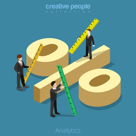 Flat isometric Businessman measure huge percentage sign vector illustration.  Analytics business 3d isometry concept.