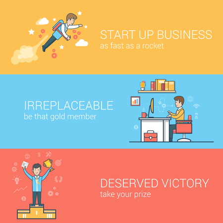 vector images: Linear Flat business startup, irreplaceable staff, success concepts set for website hero images. Businessmen flying jetpack, worker at workplace, winner on pedestal vector illustration.