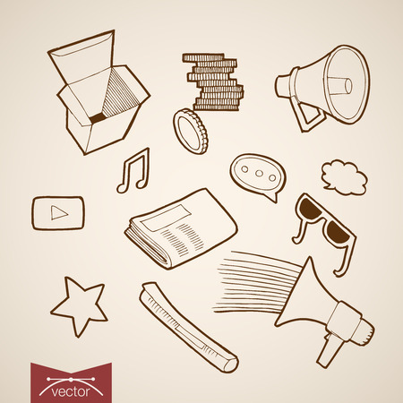 inform information: Engraving vintage hand drawn vector information and promotion collection. Pencil Sketch Mouthpiece, Message chat bubble, Speaker phone, magazine inform illustration. Illustration