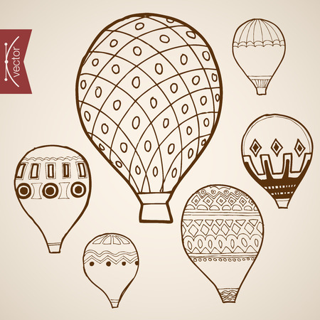 flying balloon: Engraving vintage hand drawn vector flying balloon collection. Pencil Sketch illustration. Illustration