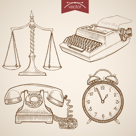 shorthand: Engraving vintage hand drawn vector Law and Justice collection. Pencil Sketch Judge trial Libra, Phone, Clock, Typewriter illustration. Illustration