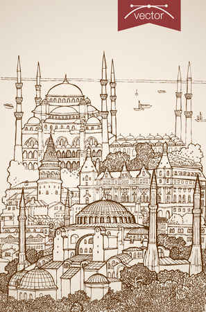 blue mosque: Engraving vintage hand drawn vector Istanbul, Turkey travel. Pencil Sketch Blue Mosque, Hagia Sophia sightseeing illustration.