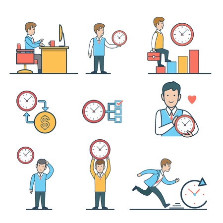 overrun: Linear Flat Time management concepts set for website hero images.   Businessmen with clock, Man sitting at the table, climb diagram, manage time character vector illustration.