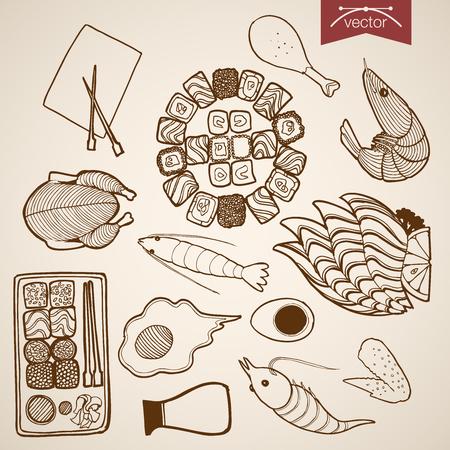 egg roll: Engraving vintage hand drawn vector restaurant menu food collection. Pencil Sketch chicken, egg, meat, sushi roll, shrimp snack illustration. Illustration