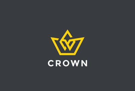 Geometric Crown abstract Logo design vector template Linear style.
