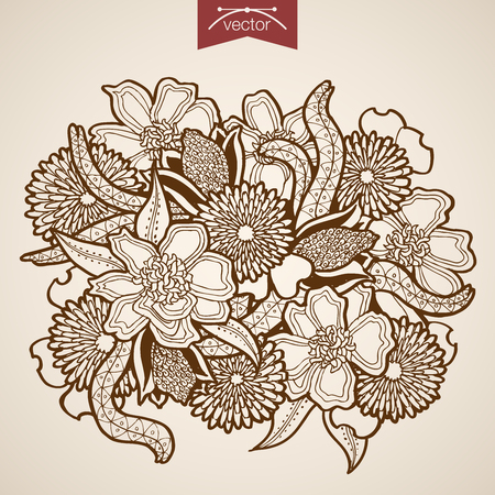 floristic: Engraving vintage hand drawn vector Flower bouquet. Pencil Sketch floristic shop illustration.