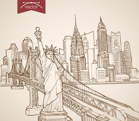 dibujos lineales: El grabado de la vendimia del vector dibujado a mano Nueva York, Estados Unidos de viaje. Bosquejo del lápiz de la estatua de la Libertad, Manhattan rascacielos ilustración.