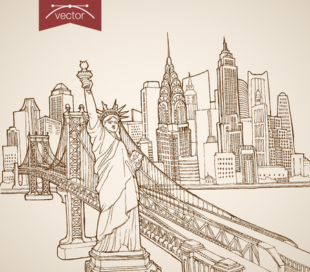 Engraving vintage hand drawn vector New York, United States travel. Pencil Sketch Statue of Liberty, Manhattan skyscrapers illustration.