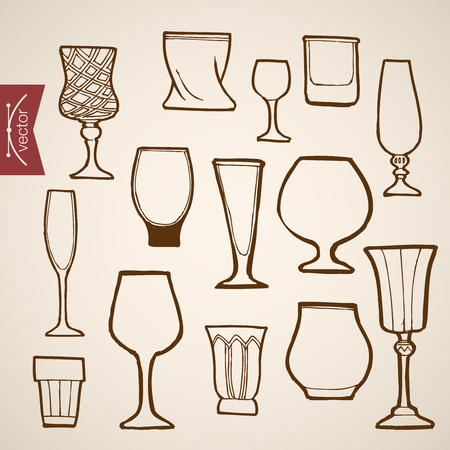 champaign: Engraving vintage hand drawn vector restaurant stemware collection. Pencil Sketch Cognac, wine, cocktail, champaign glass dishes illustration.