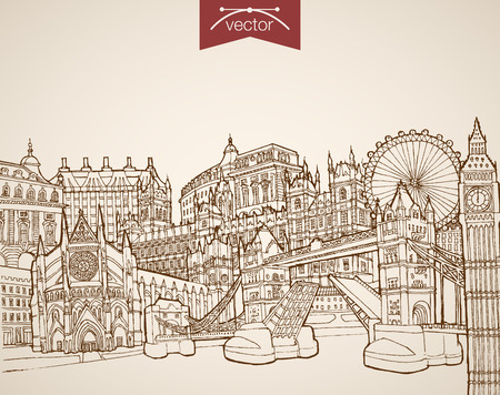 Engraving vintage hand drawn vector London, United Kingdom travel. Pencil Sketch Buckingham Palace, Big Ban, Eye, Tower Bridge sightseeing illustration. Illustration