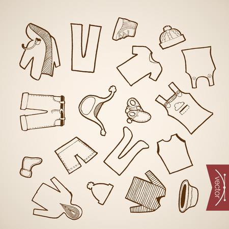 belongings: Engraving vintage hand drawn vector Shoes, Shorts, Hat, Jacket children winter clothes collection. Pencil Sketch belongings and accessories illustration.