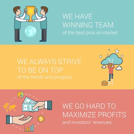 ビジネス、受賞チームは、出世の線形フラット ヒーローのイメージはウェブサイトの投資家関係概念を設定します。  ビジネスマン トロフィー、ク  イラスト・ベクター素材