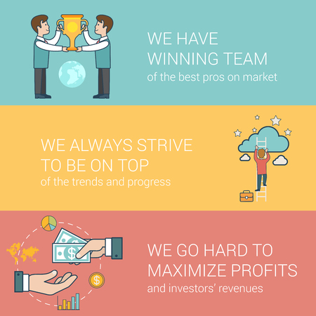 team hands: Linear Flat success in business, award team, investor relations concepts set for website hero images.  Businessmen with trophy, Man on ladder to cloud, Hands giving and taking money vector illustration