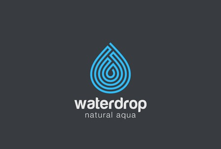 Water drop design vector template Linear style. Droplet of aqua oil . Maze concept icon