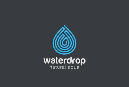 labirinth: Water drop design vector template Linear style. Droplet of aqua oil . Maze concept icon