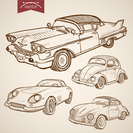 time drive: Engraving vintage hand drawn vector retro car collection. Pencil Sketch wheeled transport illustration.