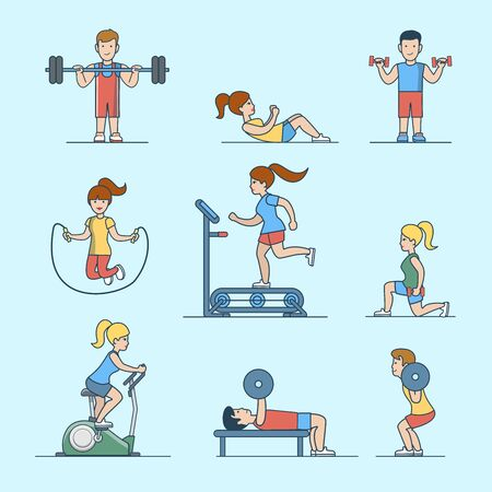 pumping: Linear Flat Sport workout health life concepts set for website hero images.  Woman, man pumping iron training exercise vector illustration.