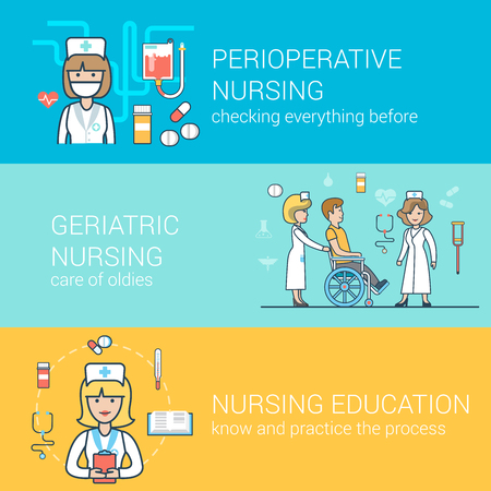 health education: Linear Flat medical staff concepts set for website hero images.  Nurse with patient on wheelchair, education, perioperative health care vector illustration. Illustration