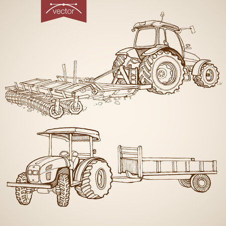 Engraving vintage hand drawn vector tractor plowing ground collection. Pencil Sketch Farm Machinery illustration. Illustration