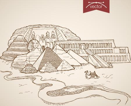 Grabado dibujado a mano vector vendimia Cairo, Egipto viajes. Bosquejo del lápiz de la esfinge, pirámides, ilustración de turismo Ciudadela.