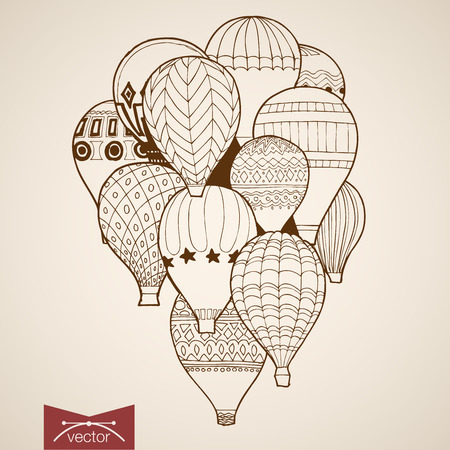 air show: Engraving vintage hand drawn vector flying balloon. Pencil Sketch illustration.