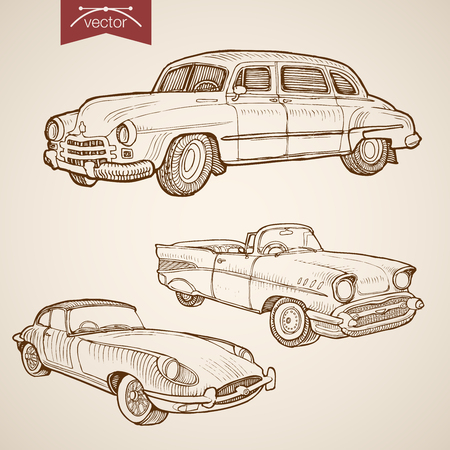 Gravur Vintage Hand gezeichnet Vektor Retro-Auto-Sammlung. Bleistift-Skizze auf Rädern Transport Illustration. Vektorgrafik
