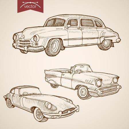 Grawerowanie vintage wyciągnąć rękę wektor retro kolekcja samochodów. Ołówkowa nakreślenie kołowa przewieziona ilustracja. Ilustracje wektorowe