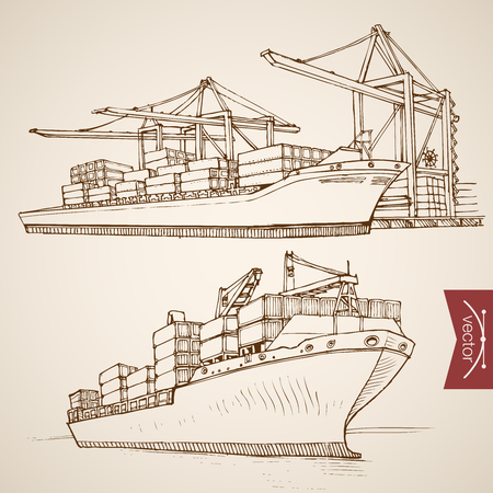 Engraving vintage hand drawn vector Ship deliver and unload cargo container collection. Pencil Sketch water delivery transport illustration. Vectores