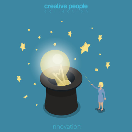 magus: Flat isometric Businesswoman light up lamp in cylinder hat with magic wand vector illustration.   Innovation in business 3d isometry concept. Illustration