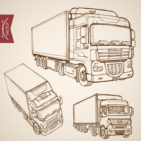 Incisione a mano annata vettore tracciato trasporto consegna di raccolta. Pencil Sketch Truck, Van veicoli camion illustrazione. Archivio Fotografico - 60587856