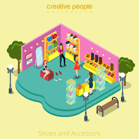 Flat isometric Fashion shop with Shoes and Accessory vector illustration.   Customers in store, shelves with hats, bags 3d isometry concept.
