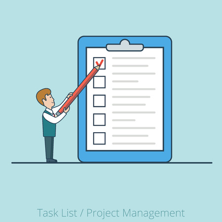 project manager: Linear Flat  Businessman working with checklist on paper sheet vector illustration.   Task List, Project Manager business concept.