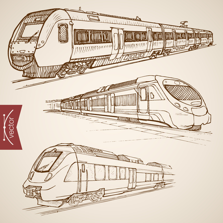high speed railway: Engraving vintage hand drawn vector modern high speed train collection. Pencil Sketch railway transport illustration.