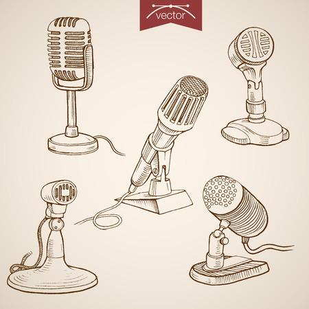 media equipment: Engraving vintage hand drawn vector retro evolution of Microphone collection. Pencil Sketch Radio, Audio Recording media equipment illustration.