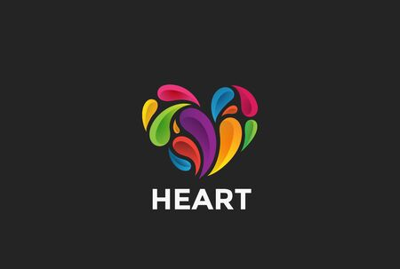 heart health: Heart colorful Splashes abstract design vector template Love Valentines Day concept icon
