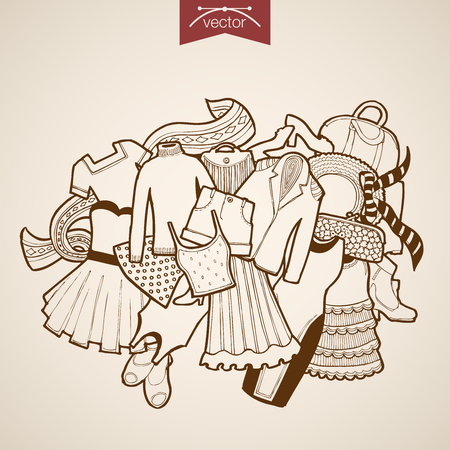 belongings: Engraving vintage hand drawn vector Shoes, dress, skirt, bag, sweeter, hat, jacket woman clothes. Pencil Sketch belongings and accessories illustration.
