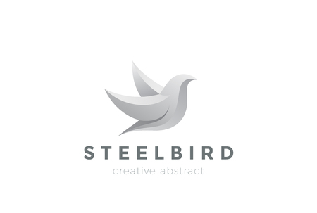 3d dove: Steel Metal Flying Bird Abstract design vector template. 3D Dove   concept icon