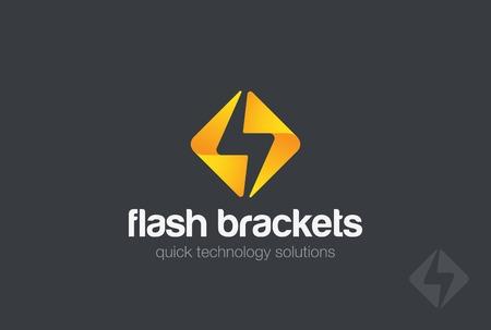 フラッシュ デザイン ベクトル テンプレートです。 エネルギー パワー スピード コンセプト アイコン