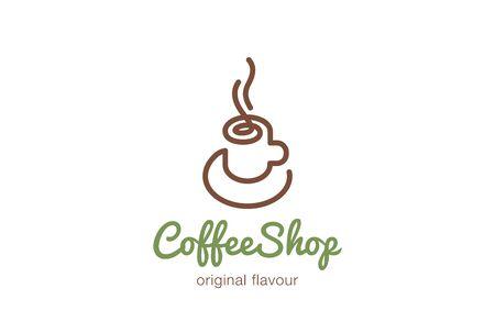 커피 컵 로고 디자인 벡터 템플릿 선형 스타일. 뜨거운 음료 로고 개념 아이콘