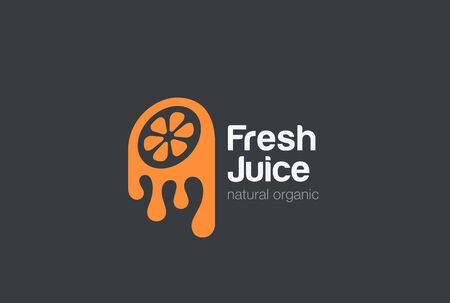 negative spaces: Orange fresh Juice  design vector template. Lemon   icon Negative space style