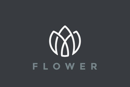 beauty icon: Flower  looped shape design vector template Linear style. Geometric Beauty Fashion  concept icon