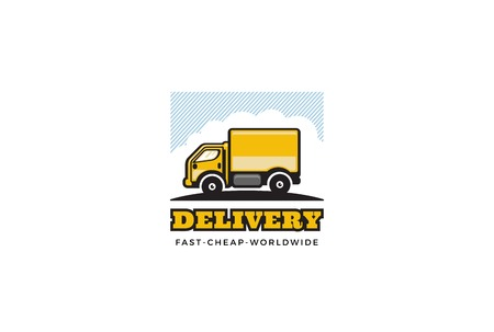 delivery package: Delivery Truck  design vector template. Cargo car   concept illustration.