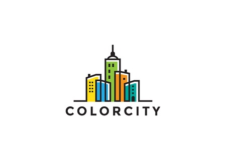 Cityscape Buildings Real Estate Logo design vector template Linear style.  Realty, Construction, Development Logotype concept icon Ilustração