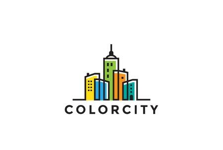 Paysage urbain Bâtiments Immobilier Logo design template vecteur de style linéaire. Immobilier, construction, développement Logotype notion icon