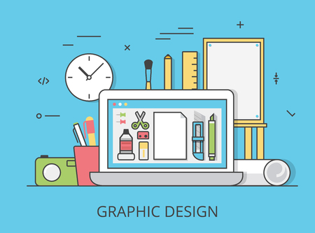 digitizer: Linear Flat graphic design website hero image vector illustration. Digital art tools and technology concept. Laptop, digitizer, ruler, camera, graphics editing software interface. Illustration