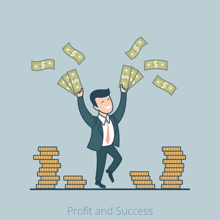 snatch: Linear Flat successful and rich businessman rising hands with money vector illustration. Success in business, profit, snatch concept.