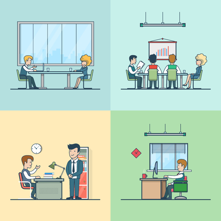 office life: Linear Flat Variety of business people at working place vector illustration set. Team, boss, businessman, businesswoman, secretary and clients characters. Office life business concept.